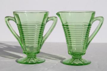 vintage Anchor Hocking circle green depression glass cream pitcher & sugar bowl