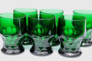 vintage Anchor Hocking forest green Georgian tumblers, set of 6 drinking glasses