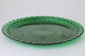 vintage Anchor Hocking forest green Waterford waffle cake plate serving platter
