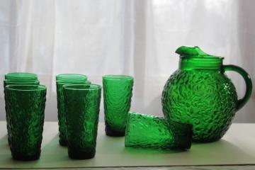 vintage Anchor Hocking forest green glass, Lido crinkle pattern pitcher & drinking glasses