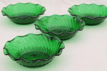 vintage Anchor Hocking forest green glass bowls, set of 4 ruffled crimped dishes