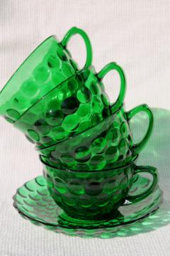vintage Anchor Hocking forest green glass bubble pattern cups, set of four