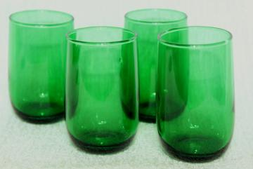vintage Anchor Hocking forest green glass juice glasses, roly-poly tumblers