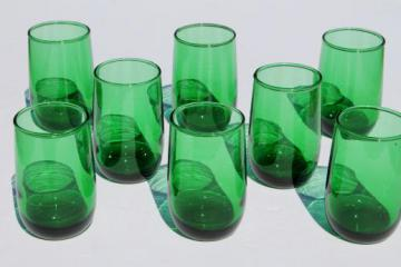 vintage Anchor Hocking forest green glass juice glasses, set of 8 roly poly tumblers