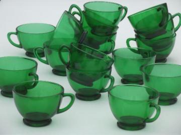 vintage Anchor Hocking forest green glass snack set cups or punch cups set