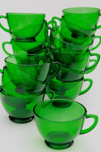 Vintage Anchor Hocking Forest Green Glass Snack Set Or