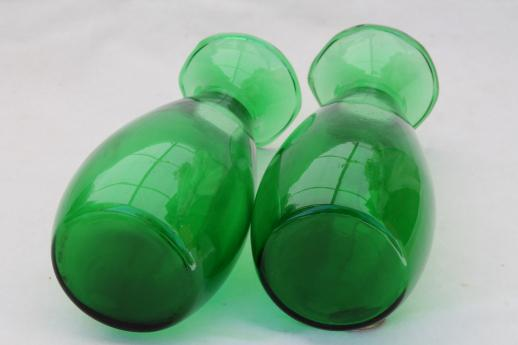 Vintage Anchor Hocking Forest Green Glass Vases Mid Century Mod Bud
