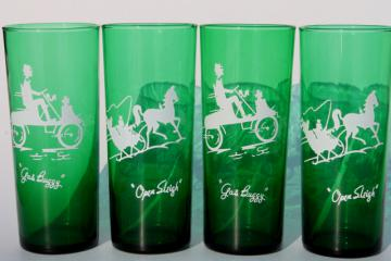 vintage Anchor Hocking forest green glassware, Gay Nineties nostalgia glass tall tumblers