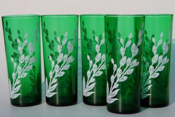 vintage Anchor Hocking forest green glassware, white pussy willow pattern glass tall tumblers
