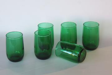 vintage Anchor Hocking forest green roly poly tumblers, juice glasses set of 6
