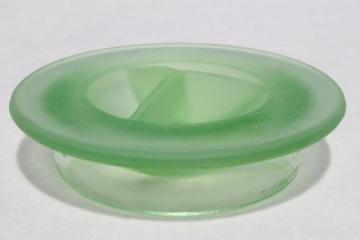 vintage Anchor Hocking frosted glass lid for green depression refrigerator bottle carafe