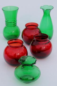 vintage Anchor Hocking glass Christmas vases, ruby red & forest green glass