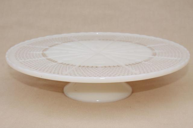 vintage Anchor Hocking glass cake stand, old custard ivory glass pedestal plate