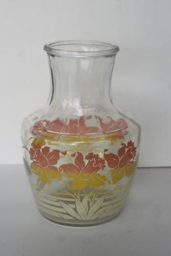 vintage Anchor Hocking glass fridge bottle, swanky swigs juice carafe pink daffodils