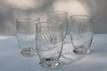 vintage Anchor Hocking glass laurel etch wheel cut footed tumblers, crystal clear