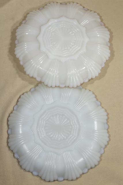 vintage Anchor Hocking gold trim milk glass relish dishes and deviled egg plate