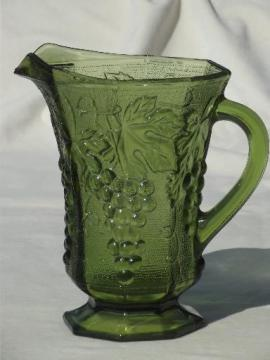 vintage Anchor Hocking green glass grapes pattern pitcher, AH paneled grape