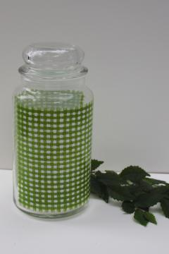 vintage Anchor Hocking green & white gingham checks glass canister jar