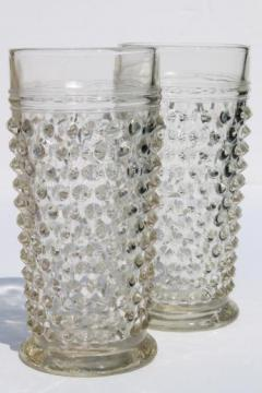 vintage Anchor Hocking hobnail glass iced tea glasses or tall tumblers