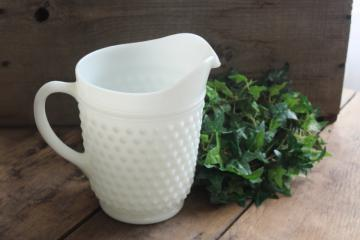 vintage Anchor Hocking hobnail milk glass pitcher, dot dash pattern white glass
