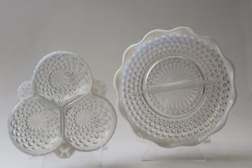 vintage Anchor Hocking hobnail moonstone milk white opalescent glass bonbon dishes