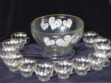vintage Anchor Hocking kitchen glass bowl, punch cups, grape leaves pattern
