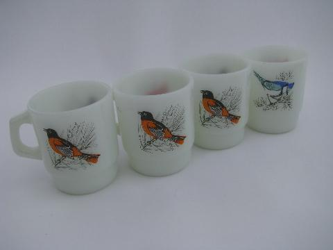 vintage Anchor Hocking oven proof kitchen glass coffee mugs, cups w/ song birds