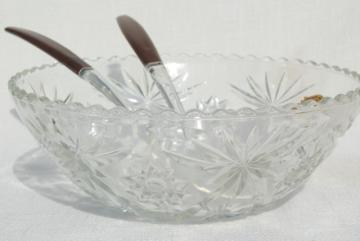 vintage Anchor Hocking prescut pressed pattern glass salad bowl, mint w/ label