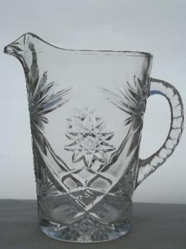vintage Anchor Hocking prescut star pattern glass pitcher, crystal clear pressed glass