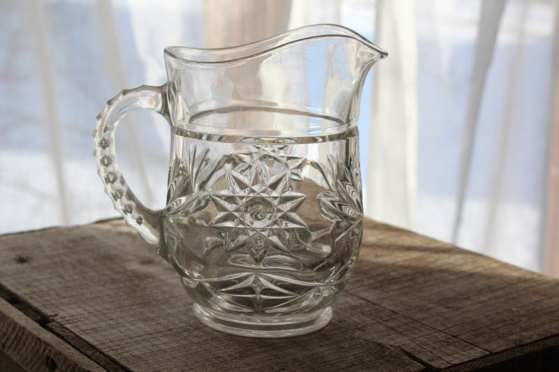 vintage Anchor Hocking prescut star pattern pressed glass pint size pitcher