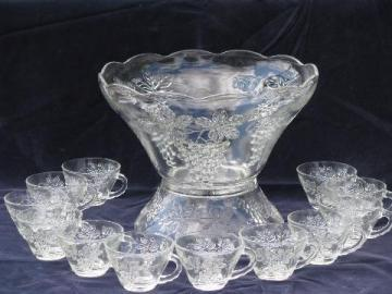 vintage Anchor Hocking punch bowl set w/ stand and cups, grape design