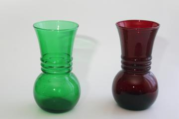 vintage Anchor Hocking ring pattern vases, forest green & royal ruby red