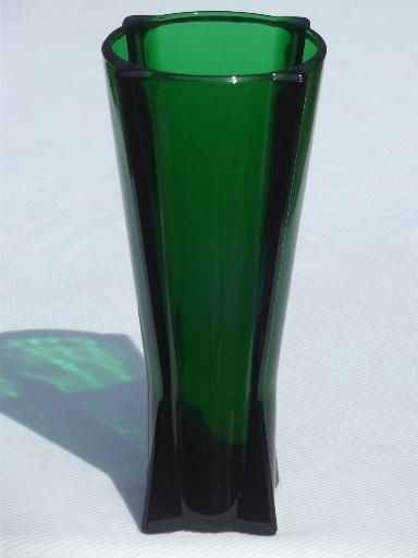 Vintage Anchor Hocking Rocket Vase Forest Green Glass Art Deco Vase