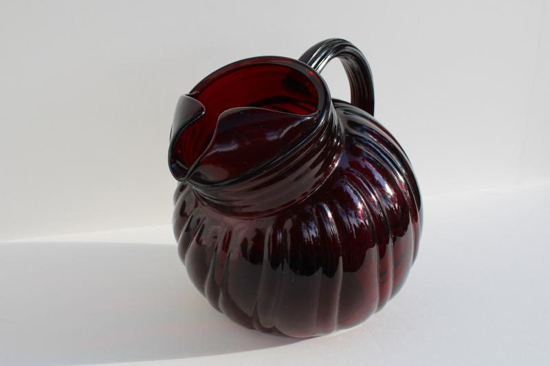 vintage Anchor Hocking royal ruby red depression glass swirl pattern ball tilt pitcher