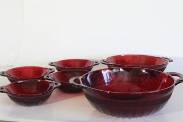 vintage Anchor Hocking royal ruby red glass Coronation block optic fruit bowls & nappy