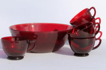 vintage Anchor Hocking ruby red glass bowl & punch cups, Christmas egg nog set