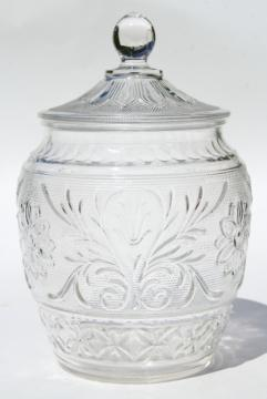 vintage Anchor Hocking sandwich pattern glass cookie jar, crystal clear color
