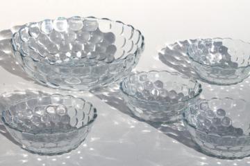 vintage Anchor Hocking sapphire blue bubble depression glass berry fruit salad bowls set