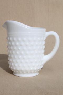 vintage Anchor Hocking white milk glass creamer or pint milk pitcher, hobnail pattern glass