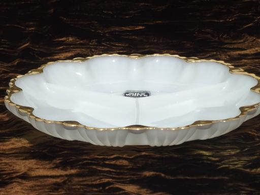 vintage Anchorglass label milk white glass divided dish relish plate