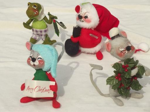 vintage annalee felt dolls santa mouse christmas mice frog ornaments - Annalee Christmas Decorations