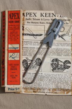 vintage Apex sharpening tool w/ instructions, knife, scissors, old lawn mower blade sharpener