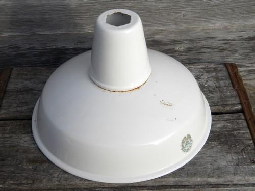 vintage Appleton white enamel pendant shade, work shop or barn lighting