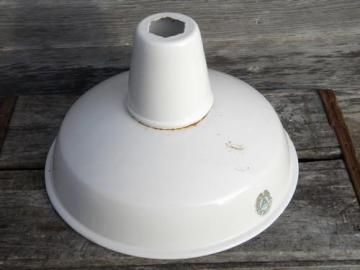 vintage Appleton white enamel pendant shade, work shop or barn lighting