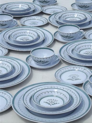 & vintage Arabia dinnerware Green Thistle pattern Arabia china set for 6