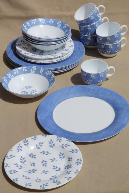 Vintage Arcopal Milk Glass Dishes Set For 6 Blue Amp White Leaf Sprig Pattern 24