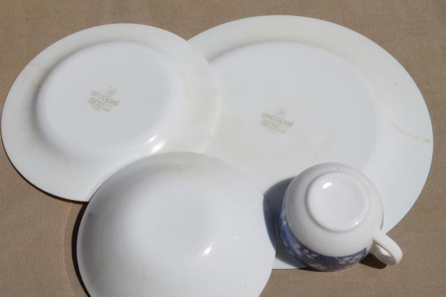 Vintage Arcopal Milk Glass Dishes Set For 6 Blue Amp White