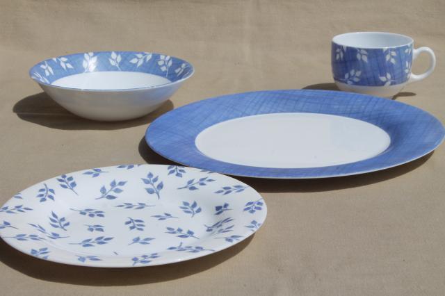 vintage Arcopal milk glass dishes set for 6 blue \u0026 white leaf sprig pattern #24 & vintage Arcopal milk glass dishes set for 6 blue \u0026 white leaf sprig ...