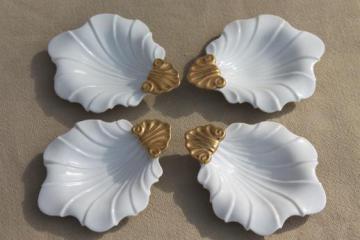 vintage Ardalt Japan white & gold china shell dishes, tea tidies or salt dips