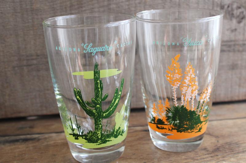 vintage Arizona cactus print Blakely Gas & Oil designs Libbey drinking glasses set